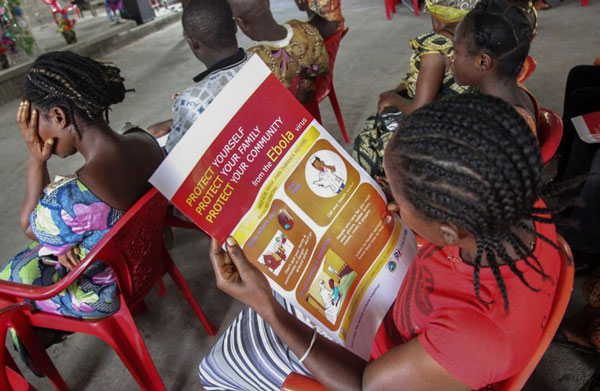 photo Liberian children learning about ebola